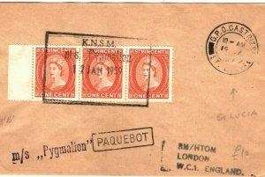 ST VINCENT PAQUEBOT Cover 1c Strip{3} ST LUCIA Castries CDS GB London 1959 PB294