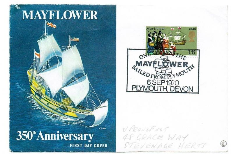GREAT BRITAIN 1970 - 350th ANNIV OF THE MAYFLOWER, SOUVENIR COVER AND H/S