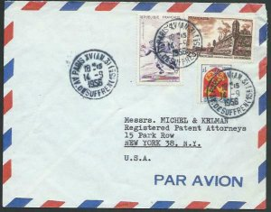 FRANCE 1956 Airmail cover to USA - nice franking...........................58121