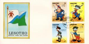 Lesotho - 1989 Philexfrance Walt Disney FDC #2 SG 880-883