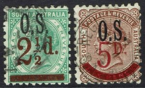 SOUTH AUSTRALIA 1891 QV OS SURCHARGE SET PERF 10 USED