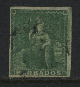 Barbados 1858 (1/2d) deep green used. (JD)
