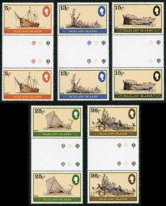Falkland Is SG417-21 Shipwrecks set in GUTTER PAIRS U/M