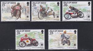 Isle of Man # 472-476, Motorcycle Races, NH, 1/2 Cat.