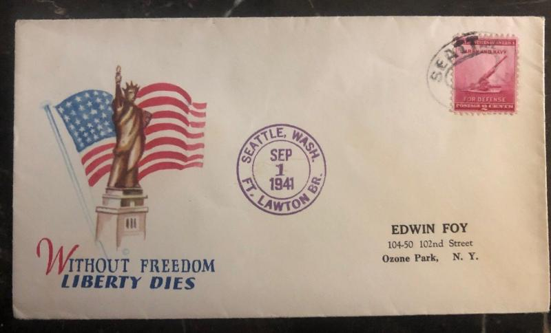1941 Seattle WA USA Patriotic Cover To Ozone Park NY Without Freedom Liberty Die