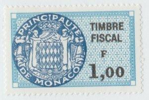Monaco France revenue fiscal stamp 5-9-21- scarce- Taller Format- no gum mint