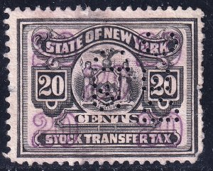 US STAMP REVENUE STATE OF NY STOCK 20C TRANSFER TAX PAID STAMP