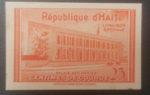 L) 1953 HAITI, DIE PROOFS, SPECIAL DELIVERY, POSTAL PALACE, RED, 25C, AMERICAN B