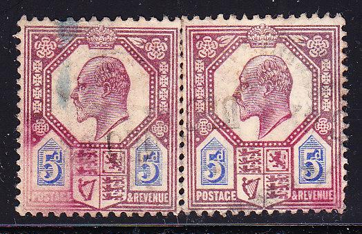 Great Britain 1902 5d KEVII pair F/VF/used(o)