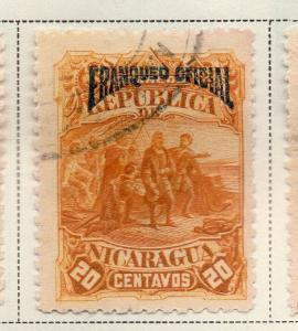 Nicaragua 1892 Early Issue Fine Used 20c. Official Optd 323710