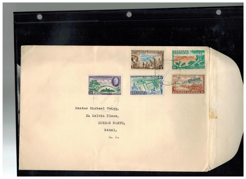 1953 Southern Rhodesia first day cover # 74-78 to Natal South Africa