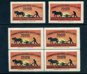 6 VINTAGE 1924 AGRICULTURAL MACHINES EXPO POSTER STAMPS (L779) GERMANY