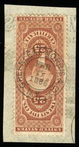 B551 U.S. Revenue Scott R44c 25c Certificate bold 1866 handstamp cancel on piece