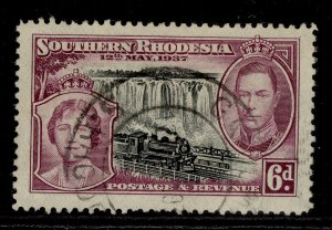 SOUTHERN RHODESIA GVI SG39, 6d black & purple, FINE USED.