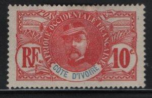 IVORY COAST, 25, HINGED REMNANT, 1906-07, Gen. Louis Faidherbe