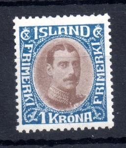 Iceland 1920 1kr brown and blue mint LHM SG129 SC126 WS11305