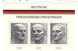 Germany, 1203, Nobel Peace Prize, S/S (3), MNH