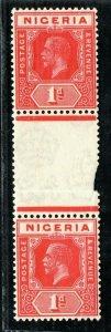 NIGERIA KGV SG.16c 1d Red (Die I/Die II) GUTTER PAIR Mint MNH Cat £425- XBLUE11