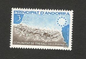 ANDORRA-FRANCE-MNH STAMP-Pyrenees work group-1984.