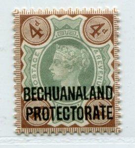 QV BRITISH BECHUANALAND VICTORIA 4p GREEN/BROWN OVERPRINT SCOTT 36 SG 36 VF MH