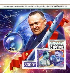 NIGER - 2021 - Sergei Korolev - Perf Souv Sheet - Mint Never Hinged