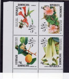 Dominican Republic 2001 FOWERS Block of 4 Perforated Mint (NH)