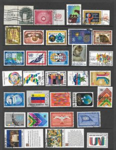 United Nations New York Used Lot of 31 different stamps & 3 Souvenir Sheets