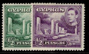 CYPRUS GVI SG152 + 152a, ½d COLOUR VARIETIES, M MINT.
