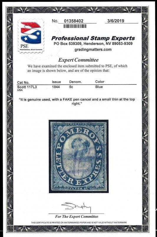 117L3 Used... PSE Cert... SCV $500.00... 4 Clear Margins