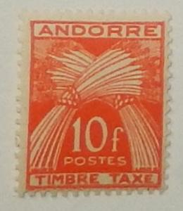 Andorra (French) J38. 1946 10Fr Red orange postage due