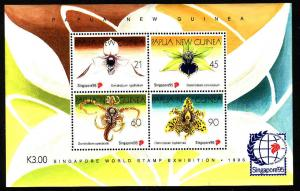 Papua New Guinea SS-Sc #882-unused-NH-Orchids-Singapore'95