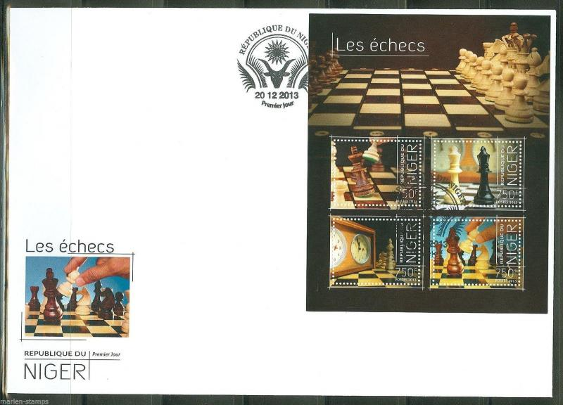 NIGER  2013  CHESS PIECES  SHEET  FIRST DAY COVER