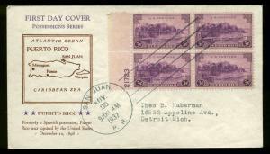 801 PLATE BLOCK of 4 PUERTO RICO FDC SAN JUAN, PR PLANTY P5a HOLLAND CACHET