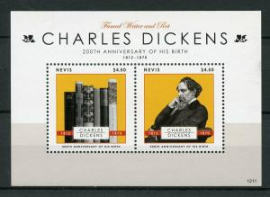 Nevis 2012 MNH Charles Dickens 2v S/S Writers Poets Famous People Stamps