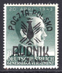 POLAND NB26 RUDNIK OVERPRINT GERMANY OCC OG NH U/M VF SIGNED SOUND BEAUTIFUL GUM
