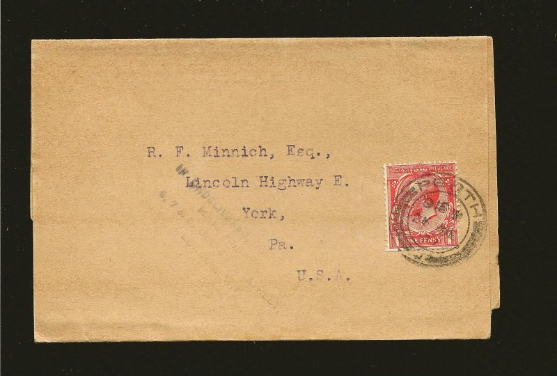 Great Britain Postmarked Perth 1927 KG V 1 Penny Red Stamp on Newspaper Wrapper