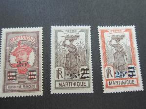 French Martinique 1924 Sc 120-22 MH
