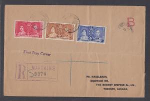 Bechuanaland Protectorate Sc 121-123 FDC. 1937 Coronation, cplt set, Mafeking
