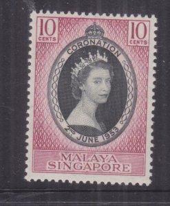 SINGAPORE, 1953 Coronation 10c., mnh.