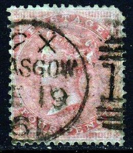 GB Queen Victoria 1857 4d. Rose Wmk Large Garter SG 66a (Spec J51[2]) FU