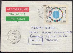 Italy Used Aerogram Italian - Latin American Inst. 1977