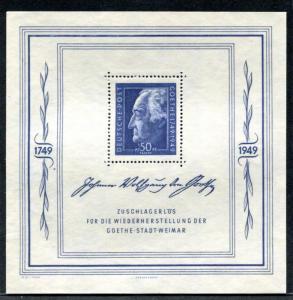 Germany: East (DDR) 10NB11 MNH souvenir sheet, Goethe