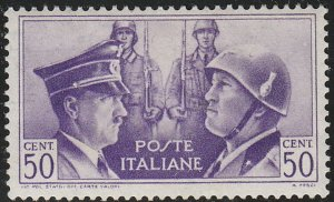 Stamp Italy SC 0416 WWII Adolf Mussolini Rome Berlin Axis Germany War MNH