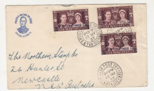 MOROCCO AGENCIES, 1937 Coronation, 3 currencies, First Day cover, Tangiers,