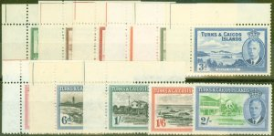 Turks & Caicos Is 1950 set of 11 to 2s SG221-231 Fine Lightly Mtd Mint