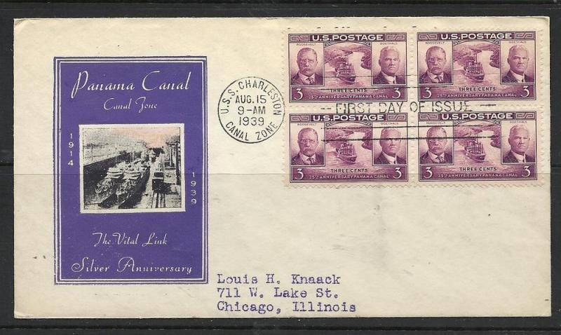 US #856-22a Panama Canal Ioor cachet addressed