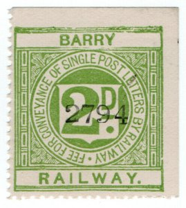 (I.B) Barry Railway : Letter Stamp 2d
