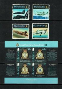 Gibraltar: 2014. RAF Squadrons, (3rd series)  Aviation, Military, MNH set + M/S.