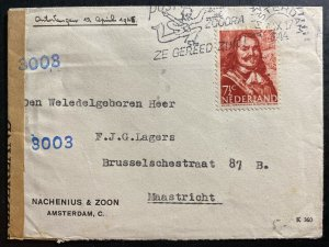 1944 Amsterdam Netherlands Censored Commercial Cover To Maastricht