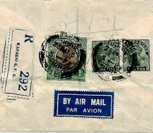 CS202 INDIA Karachi (Pakistan) Cover 1937 Registered Air Mail Cover {samwells}